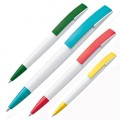 Plastic ball pen with broad clip (13061)